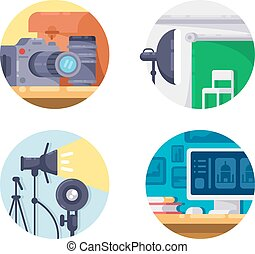 Photography industry icon collection