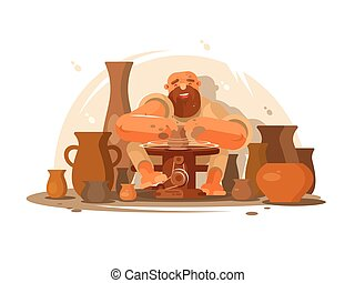 Potter bearded man. Professional worker produces clay jugs....