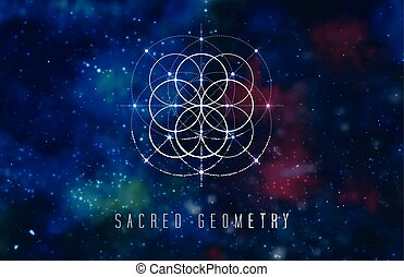 Sacred geometry vector design element on a abstract cosmic...