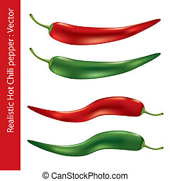 Realistic hot chili pepper. Illustration vector.