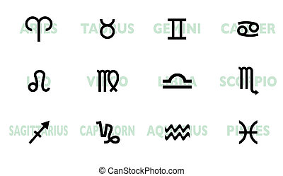 Horoscope names and symbol - collection of horoscope signs...