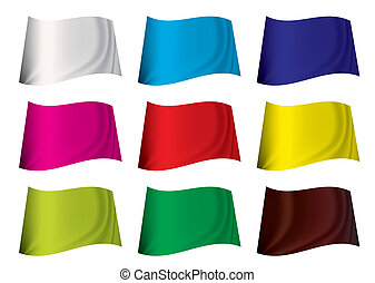 colourful flag - brightly coloured plain flag fluttering in...