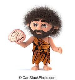 divertido, Cavernícola, tiene,  3D, cerebro