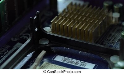 Close up shot of processor on motherboard
