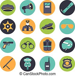 Vector set collection icons of police equipment vector...