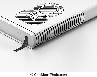 Law concept: closed book, Judge on white background
