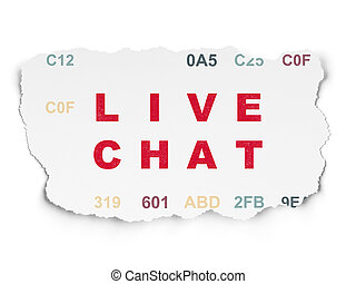 Web design concept: Live Chat on Torn Paper background - Web...