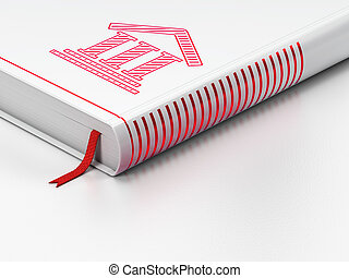 Law concept: closed book, Courthouse on white background
