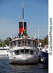 Passenger ship in Stockholm, Sweden. Stockholm water...