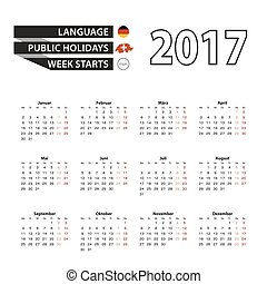 Calendar 2017 on German language. With Public Holidays for Switzerland in year 2017. Week starts from Monday.
