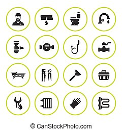 Set round icons of plumbing isolated on white. Vector...