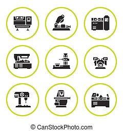 Set round icons of machine tool isolated on white. Vector...