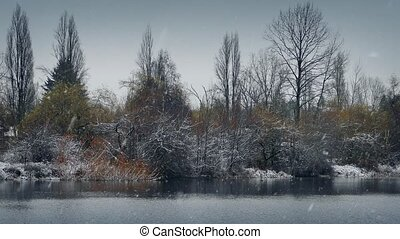 Winter Lake In Snowfall