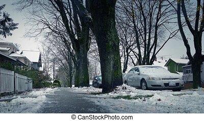 Moving Along Frozen Sidewalk In Winter - Low angle shot...