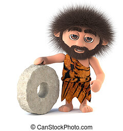 3d Funny caveman invents the wheel - 3d render of a funny...