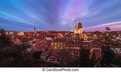 Sunset view of the cathedral in Zagreb, Croatia.