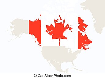 North america America with highlighted Canada map.