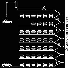 Comical car park - Representation of cars parked in a milti...