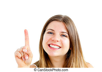 Jolly young woman pointing upward