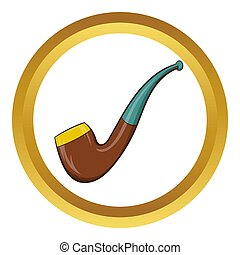 Wooden pipe icon, cartoon style - Wooden pipe icon in golden...