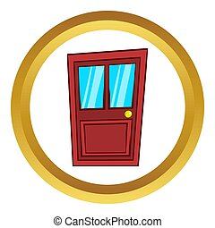 Wooden door with glass  icon, cartoon style