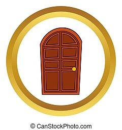 Brown arched wooden door  icon