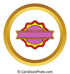 Award rosette with ribbon icon in golden circle, cartoon...