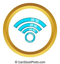 Wireless network symbol icon in golden circle, cartoon style...