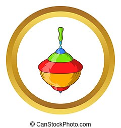 Whirligig icon in golden circle, cartoon style isolated on...