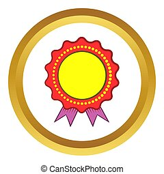 Award rosette with violet ribbon icon in golden circle,...