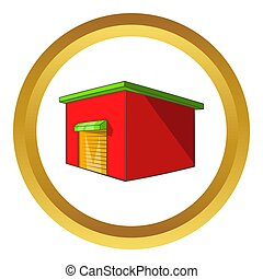 Beer warehouse icon in golden circle, cartoon style isolated...