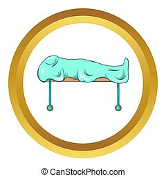 Dead on gurney icon in golden circle, cartoon style isolated...