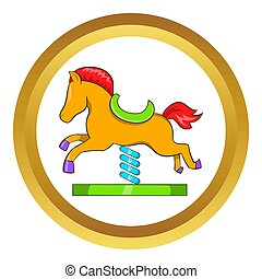 Horse spring see saw icon in golden circle, cartoon style...