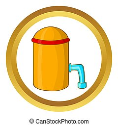 Barrel with tap icon in golden circle, cartoon style...