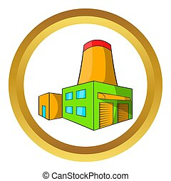 Brewery icon in golden circle, cartoon style isolated on...