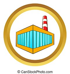 Beer bottling building icon in golden circle, cartoon style...