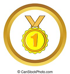 Medal for first place  icon, cartoon style