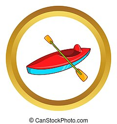 Kayak icon in golden circle, cartoon style isolated on white...