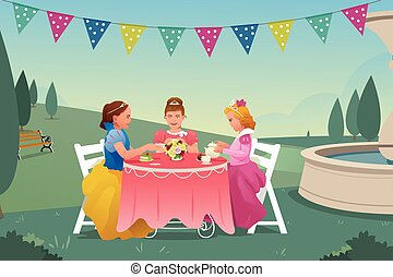 Young Girls Having a Tea Party - A vector illustration of...
