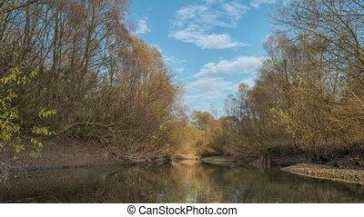 Beautiful autumn river. Kuban River. Russia - Time-lapse of...