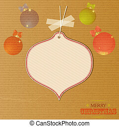 Christmas message tag over decorated brownpaper - Merry...