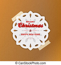 Christmas snowflake with sellotape on brown paper - White...