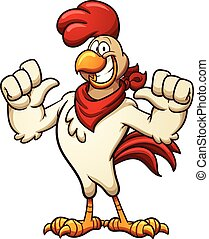 Cartoon chicken with a red bandana. Vector clip art...