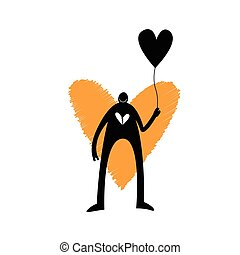 Love Optimist - Vector illustration of a dark figure with a...