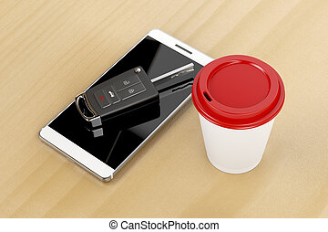 Smartphone, car key and coffee cup on wooden table