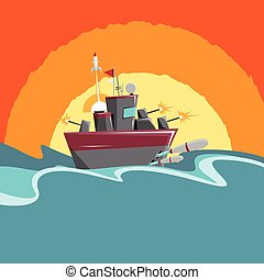 Cartoon Warship - Vector cartoon illustration of a warship...