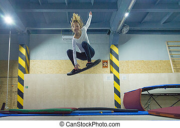 Wakeboard. Training on a trampoline.