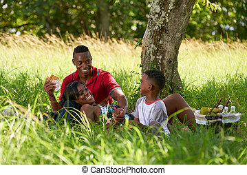 Father Mother Son Eating Food During Picnic On Summer Holidays