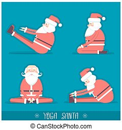 Santa claus doing yoga isolated.Vector illustration for...