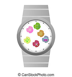Smart Watch Icons isolated on white
